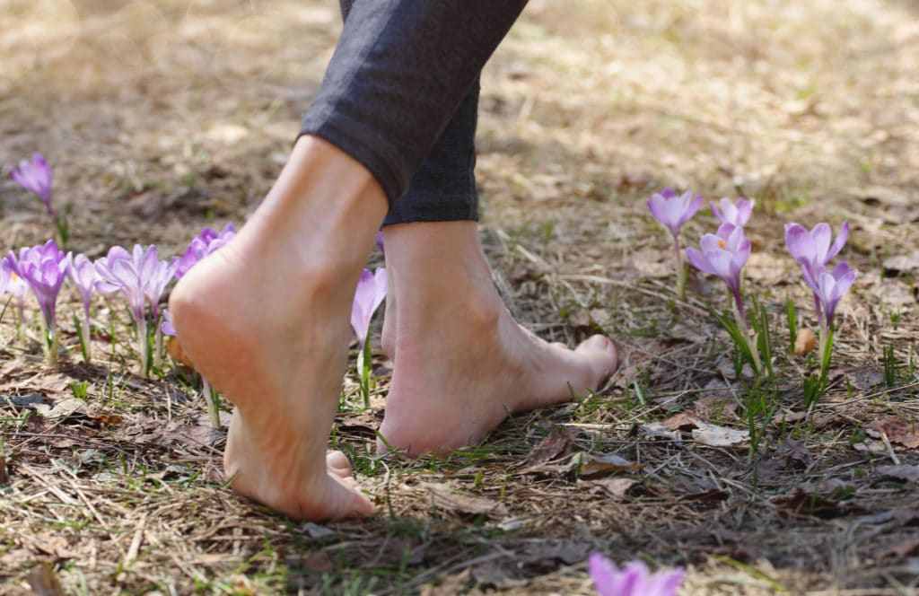 Beautiful barefoot female legs walking on grass. Grounding and Earthing techniques concept
