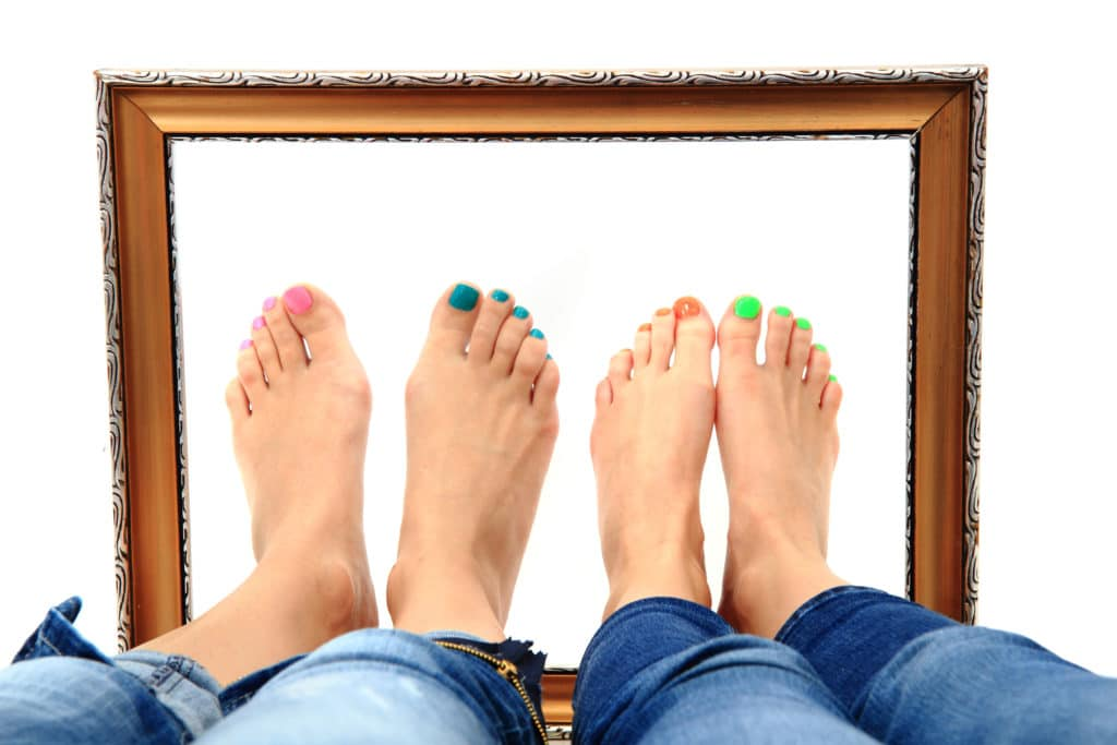 women feet and old frame